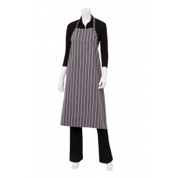 Chef Works A100BCS0  Gray Chalk Stripe English Chef's Apron