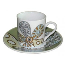 European Gift 0370 Modern Flower Design Cups & Saucers Set of 6