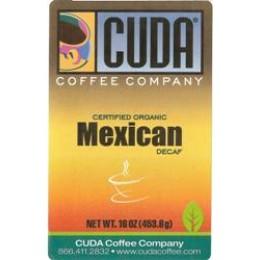Cuda Coffee Certified Organic Mexican Decaffeinated 1lb