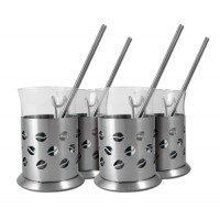 Ragalta 8 Piece Designer Stainless Steel and Glass Coffee Set