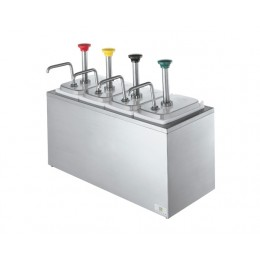 Server Syrup Rail w/ Four Stainless Steel Pumps